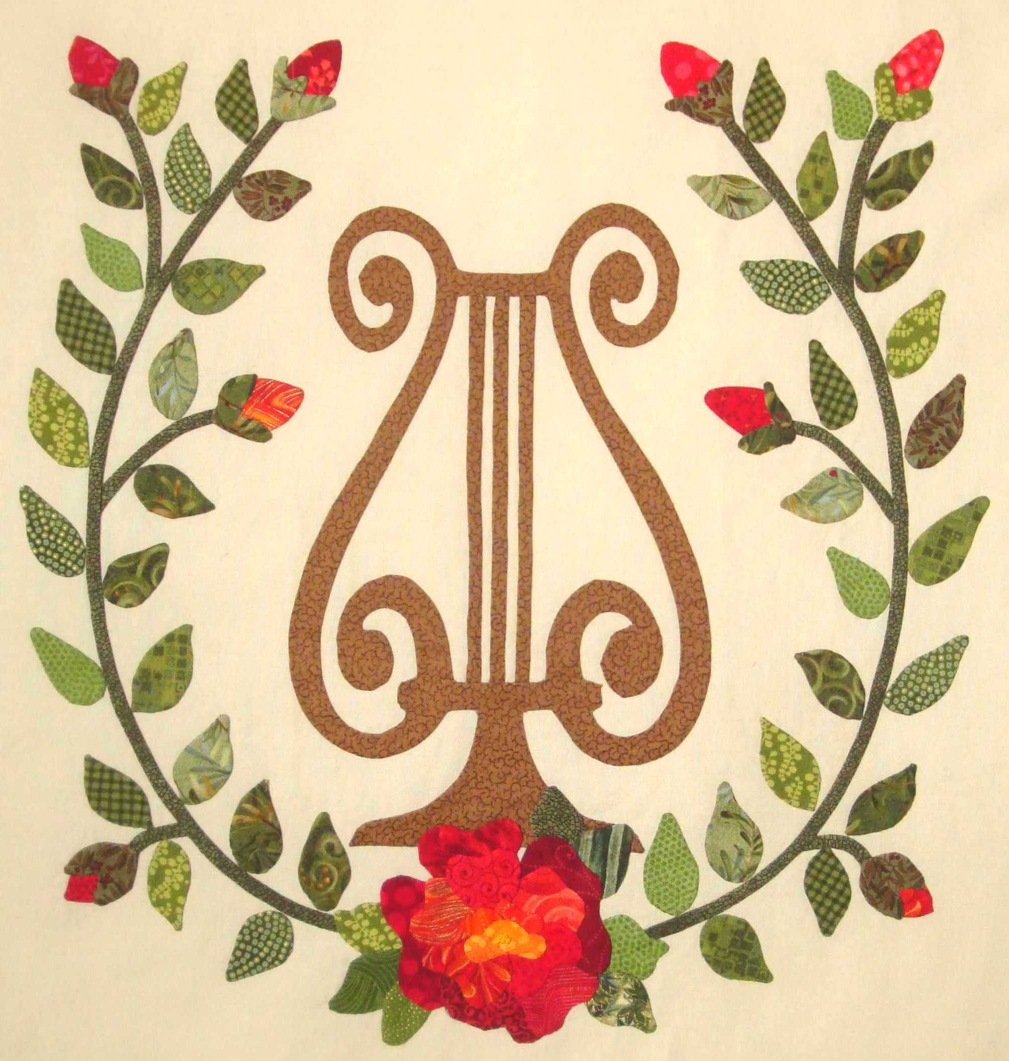 Fabric Therapy Online Country Rose Lyre Music Themed