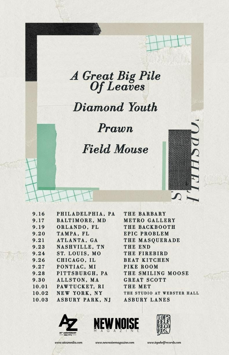Topshelf Records tour featuring A Great Big Pile of Leaves, Diamond Youth, Prawn and Field Mouse
