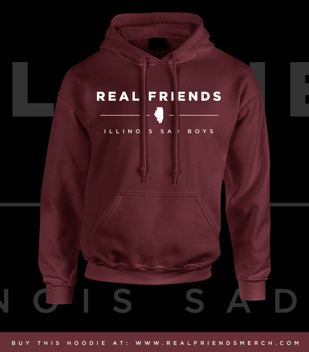 Friends official online merch store maroon illinois sad boys hoodie