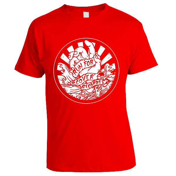 Run For Cover - Hand Shirt (White on Red)
