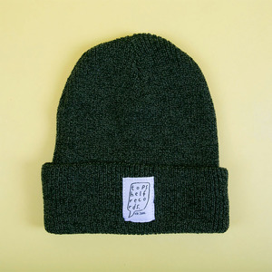 Moss Green Knit Hat with Sewn Label