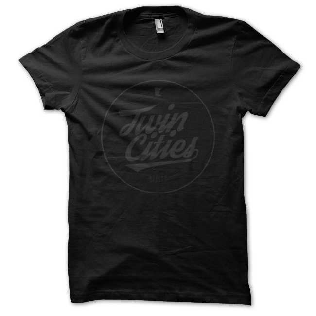 MPLSTP Twin Cities Script Tee - Black/Black
