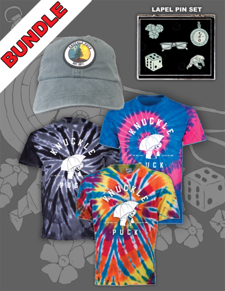 Evergreen Hat + Reaper Tie-Dyed Tee + Lapel Pin Set
