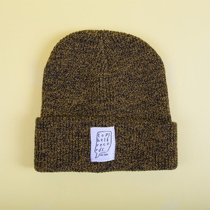 Knit Hat With Sewn Label - Antique Mustard