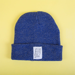 Knit Hat With Sewn Label - Heather Blue