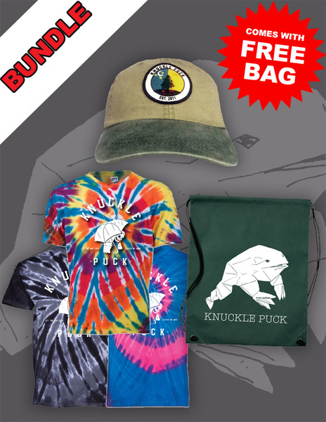 Evergreen Hat + Reaper Tie-Dye Tee + Drawstring Backpack