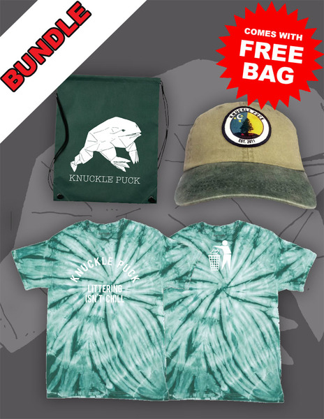 Evergreen Hat + Littering Isn't Chill Tie-Dye Tee + Drawstring Backpack