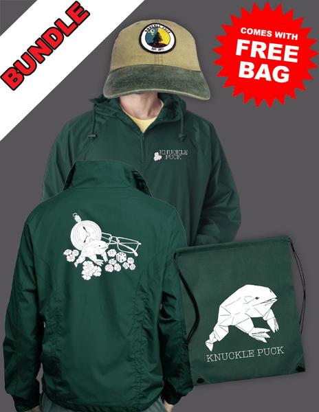 Frog Windbreaker + Evergreen Hat + Frog Bag
