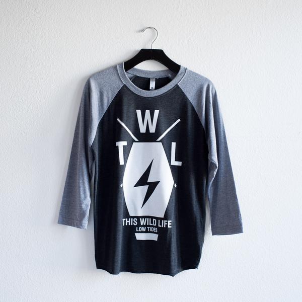 Coffin Bolt Baseball Tee (Grey / Black)