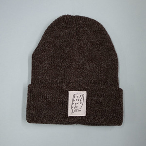 Heather Burgundy Knit Hat with Sewn Label