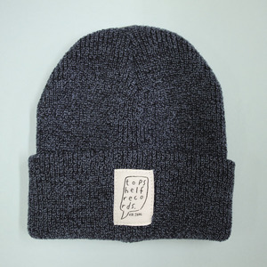 Antique Petrol Knit Hat with Sewn Label