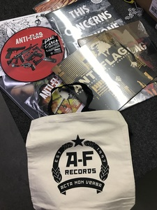 A-F Records tote + 3 LPs for only 25 dollars!