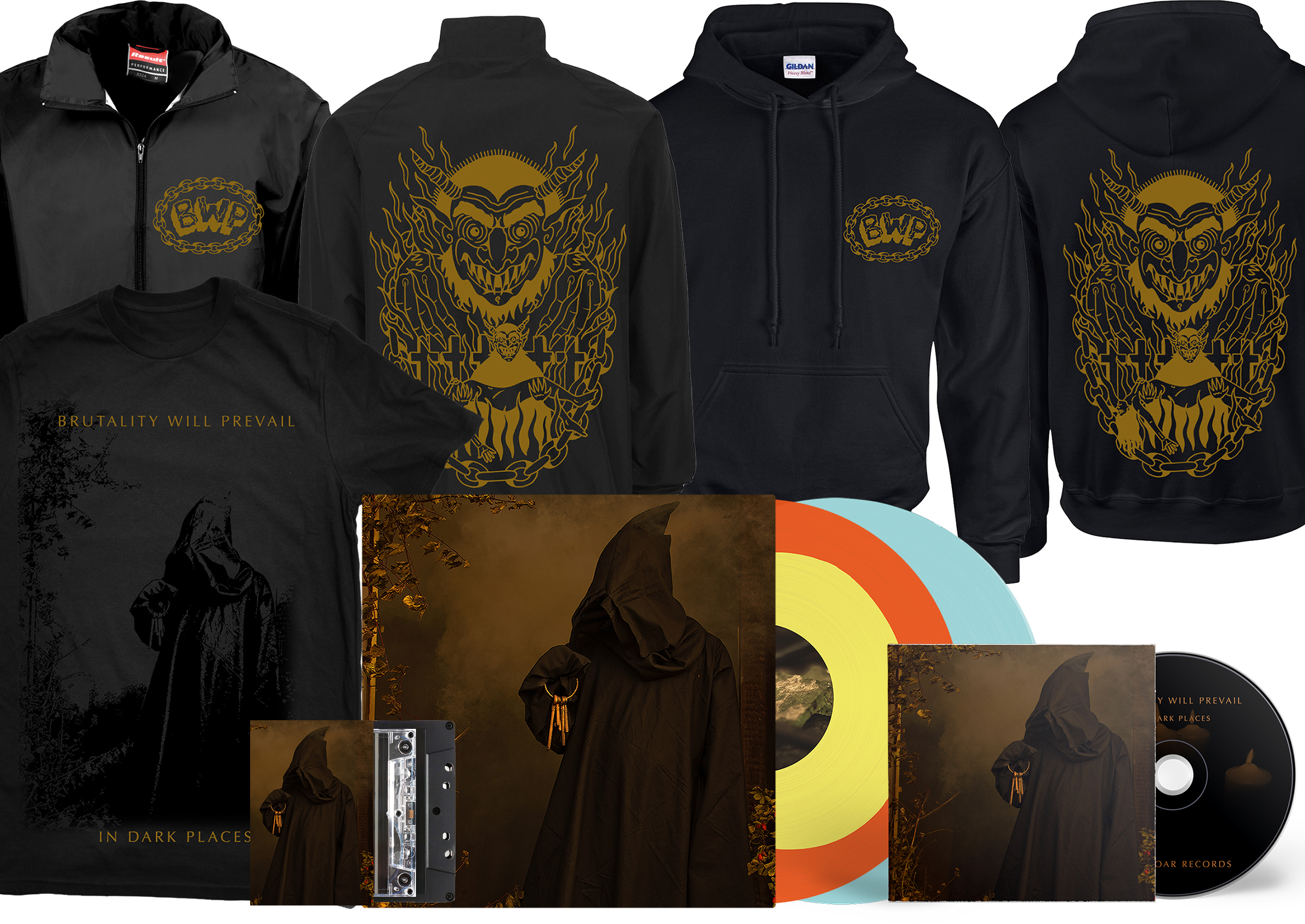 Brutality Will Prevail - In Dark Places LP + CD + cassette + merch bundle