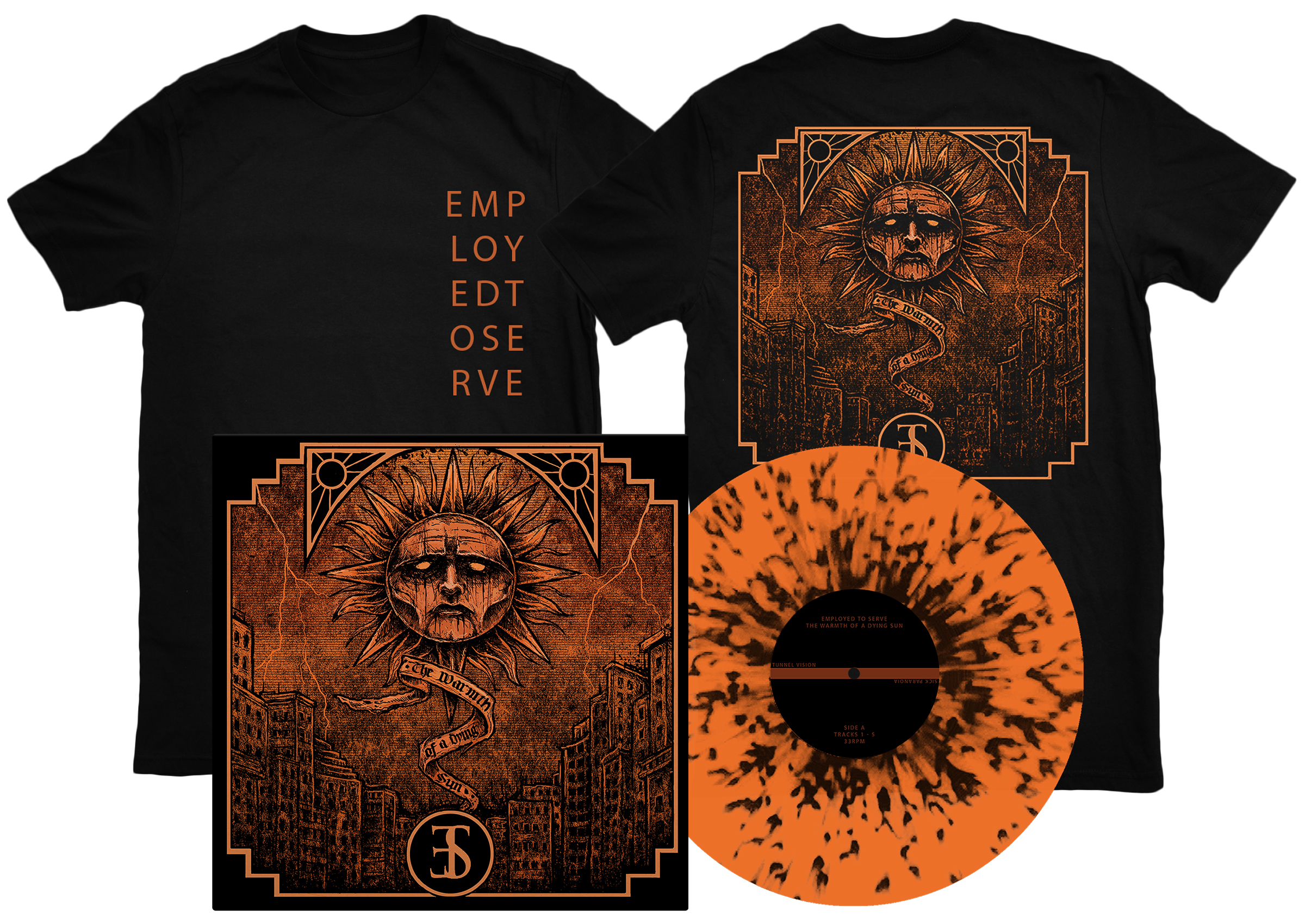 Employed To Serve - The Warmth Of A Dying Sun black shirt + LP PREORDER