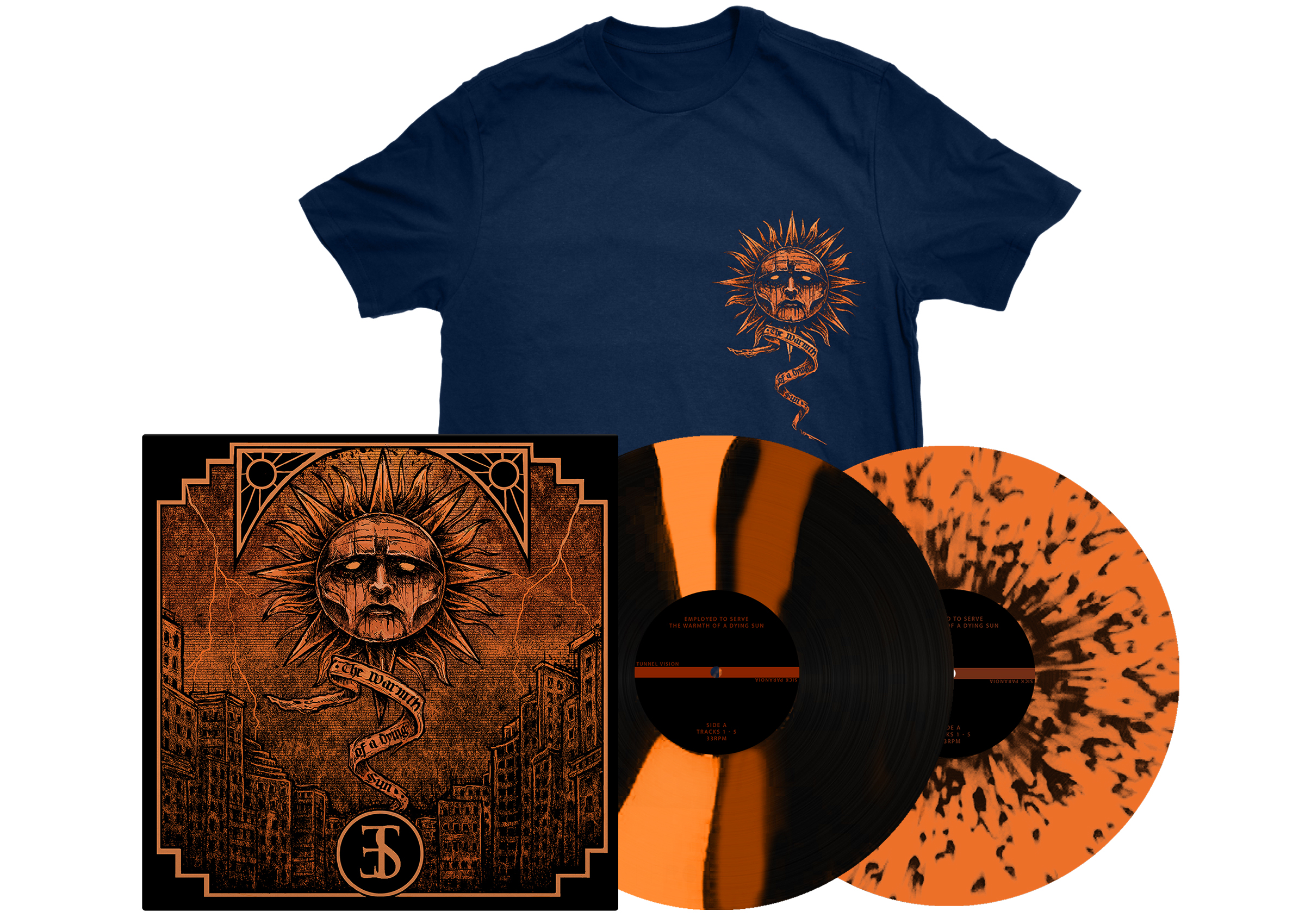 Employed To Serve - The Warmth Of A Dying Sun navy shirt + LP PREORDER