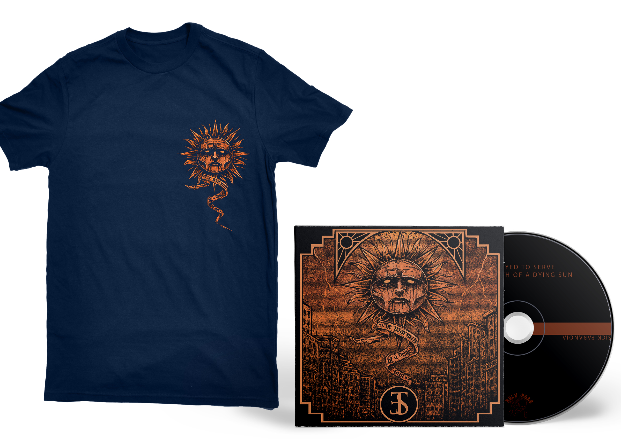 Employed To Serve - The Warmth Of A Dying Sun navy shirt + CD PREORDER
