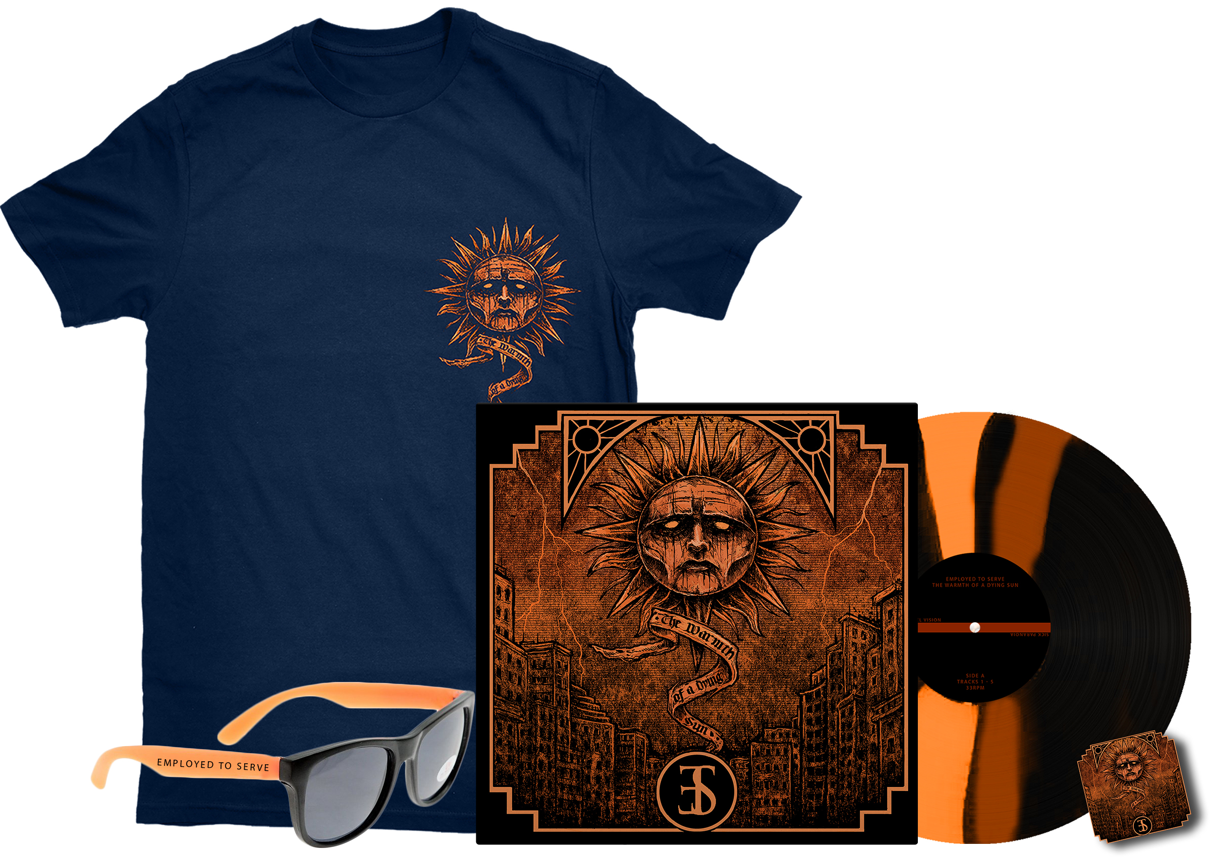 Employed To Serve - The Warmth Of A Dying Sun navy shirt + sunglasses + pin badge + LP PREORDER