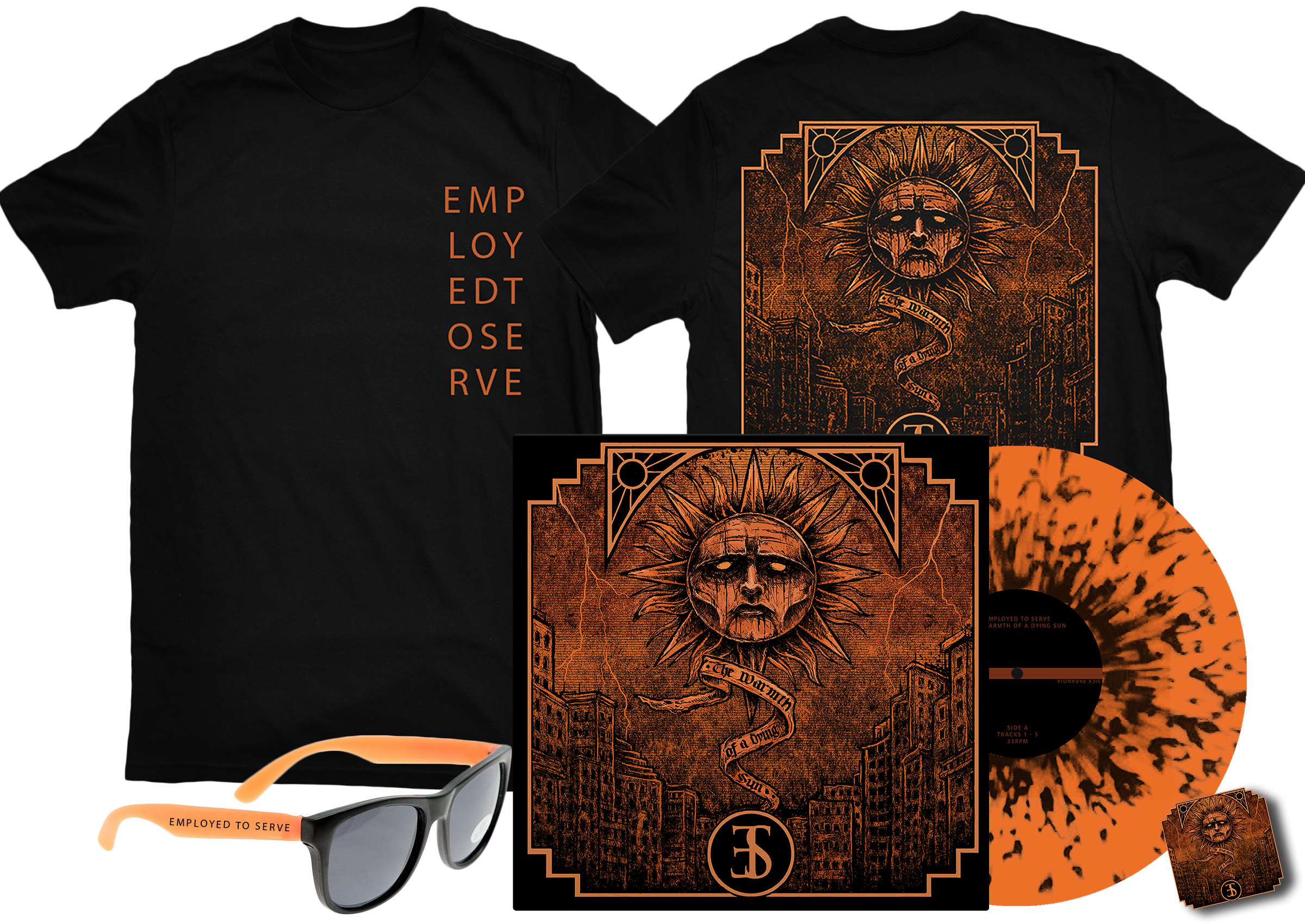 Employed To Serve - The Warmth Of A Dying Sun black shirt + sunglasses + pin badge + LP PREORDER