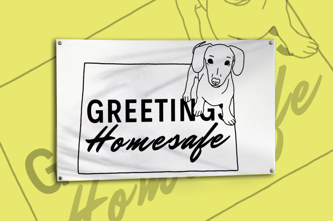 3x5 Welcome Mat Dog Flag