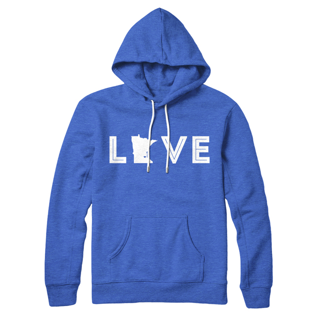 Love Pullover Hoodie - Royal Heather/White