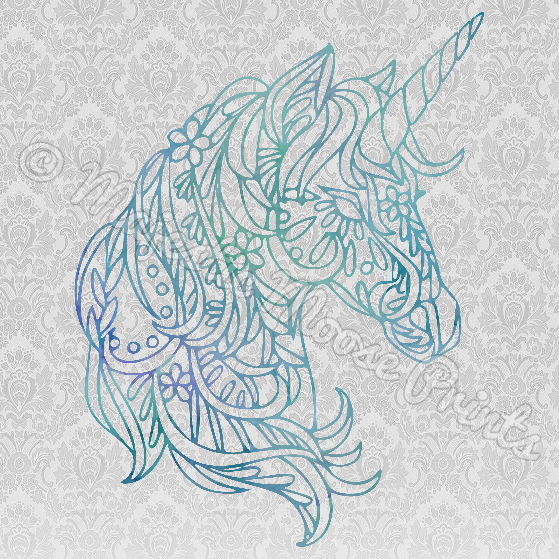 Majestic Moose Prints Mandala Unicorn