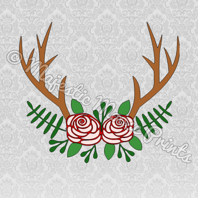 Majestic Moose Prints - Antler Flower Frame SVG