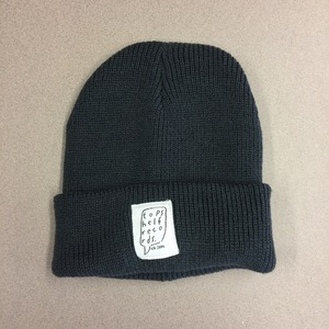 Graphite Gray Knit Hat with Sewn Label