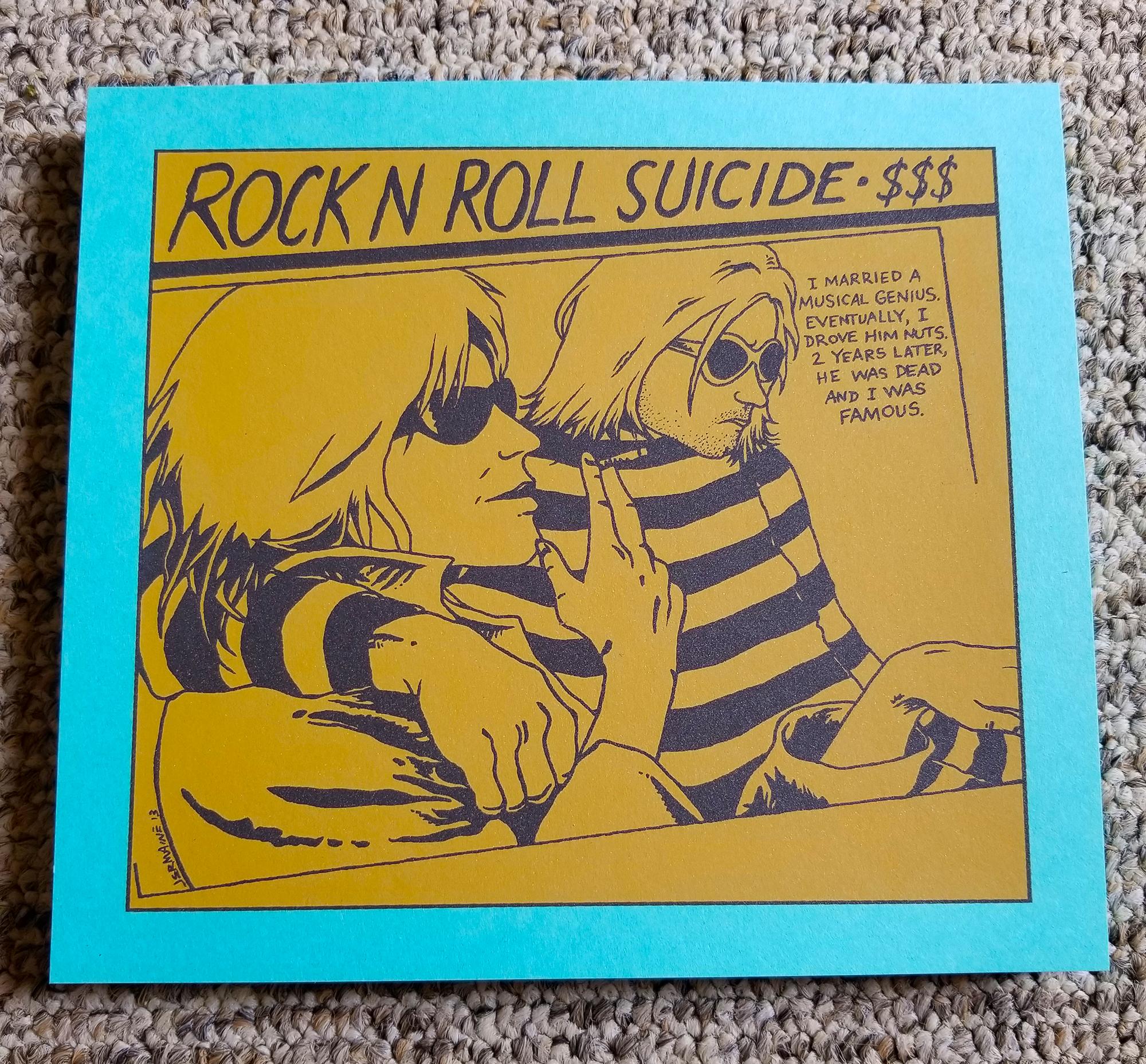 'ROCK N ROLL SUICIDE' Handbill / Mini Print (Cobain) BLUE RASPBERRY VARIANT!