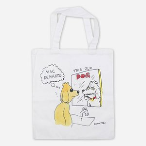 DOG MIRROR WHITE CANVAS TOTE BAG