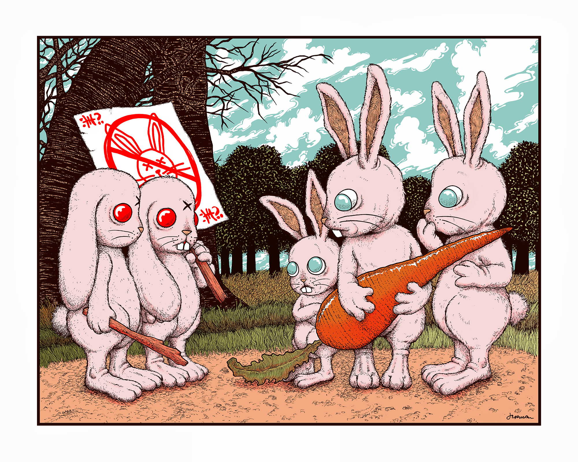 NEW 'Stupid Animals See Enemies Everywhere...' Mini Art Print (VARIANTS & KEYLINE)