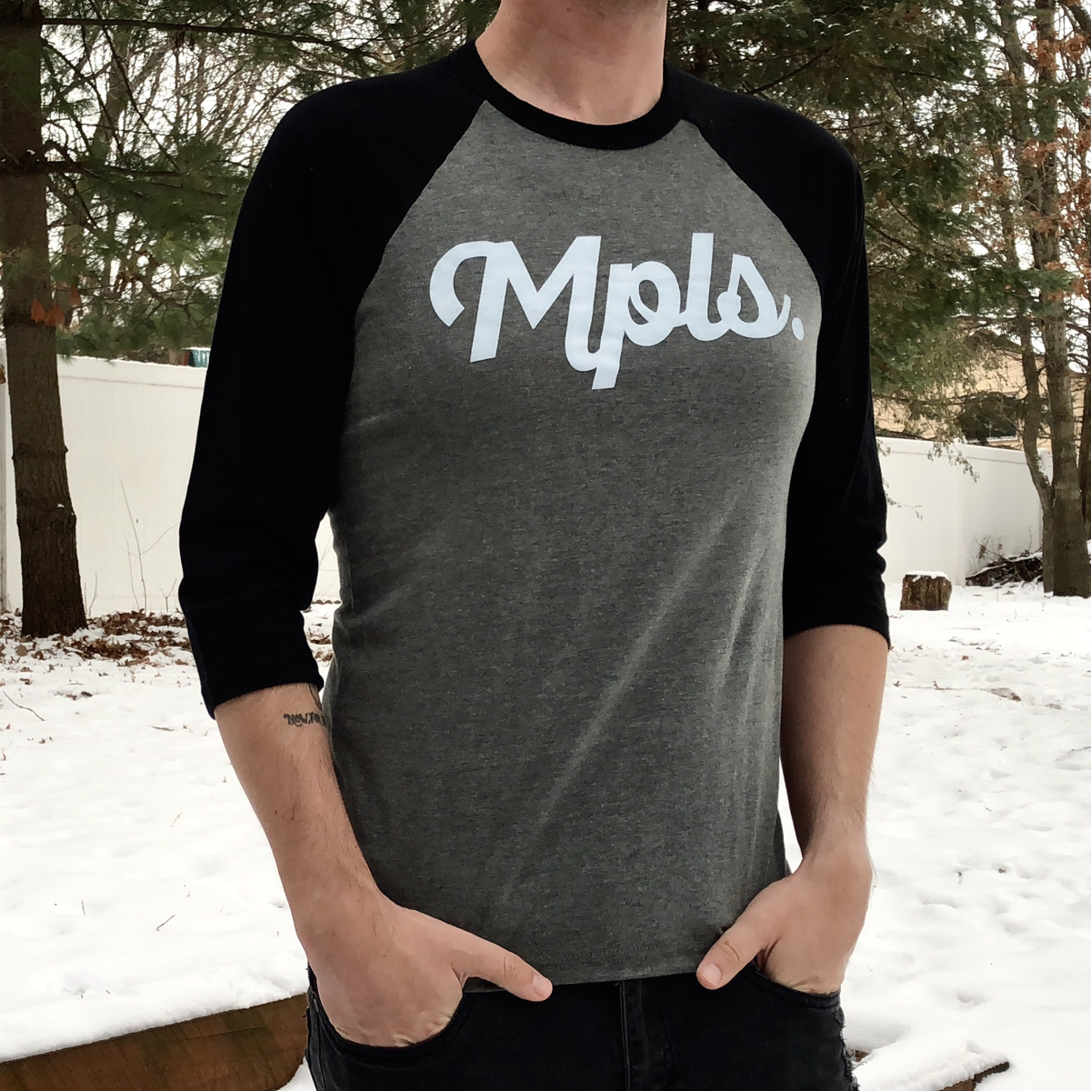 MPLS Classic Baseball Tee - Black/Deep Heather