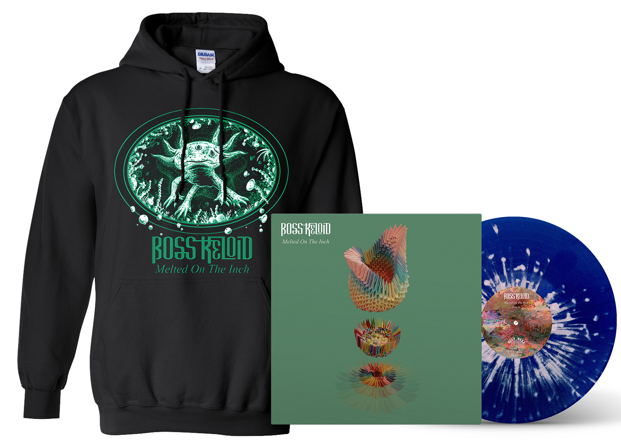Boss Keloid 'Melted...' Axolotl hoodie + LP PREORDER