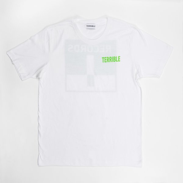 White Logo Tee (Neon Green Ink)