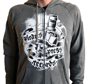 Pirates Press Records 2016 Bottle Zip-Up Sweatshirt (Re-print) Gray